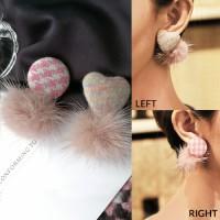 Anting Korea Bohemian Love Round Fabric Earrings J4U857