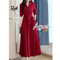 Baju Wanita Longdress Maxi Dress Agnes Merah P35