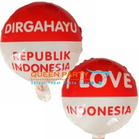 Balon foil bulat HUT RI / DIRGAHAYU INDONESIA / 17 agustus / LOVE RI