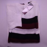STAYL - Tricolor Knit Sweater XXL | Baju Hangat Rajut Big Size Megumi - Putih