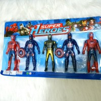 Mainan Super Heroes Spiderman dan Captain America set 5 pcs