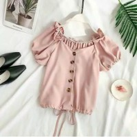 crop babydoll blouse baju atasan wanita anak anak remaja croptop korea