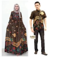 Baju dress gamis jumbo couple batik sarimbit merak megamendung
