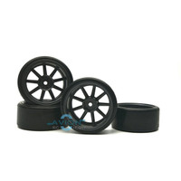 3Racing - 1/10 9 Spoke Wheel & Tyre Set For Drift 5mm Offset WH-24/GY