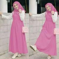 Baju gamis muslim wanita set 3in1 overal gamis pink tali