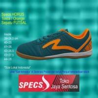 Promo Sepatu Futsal Specs Horus In Tosca/Orange - Hijau Tosca, 38
