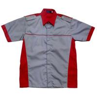 Kemeja Drill / Baju Kerja Drill / Seragam / Baju Bengkel. Abu-Merah