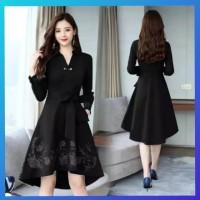 baju wanita casual gaun blouse pesta abaya natal maxi dress hitam