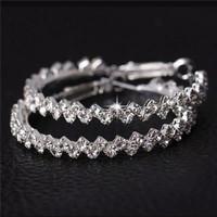 Anting Tusuk Kristal Berlian Imitasi Bentuk Bulat Besar