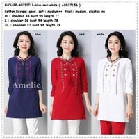 Baju Atasan Lengan Blouse Boho Bohemian Etnik Tunik Import Merah Putih