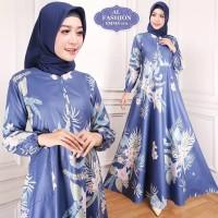 busana muslim gamis syari jumbo busui baju wanita motif bunga terbaru
