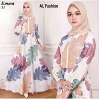gamis syari motif bunga dress busana muslim baju wanita kekinian