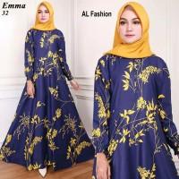 baju gamis muslim long dress busana muslimah syari pakaian motif bunga