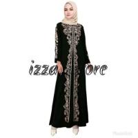 abaya gamis hitam arab bordil gold - Hitam, XL