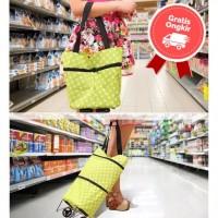 Tas Belanja Troli Lipat Motif Pakai Roda Trolly Bag Shopping Foldable