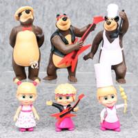 Marsha and The Bear Figure Set 6 Mainan Pajangan Miniatur Topper FG508