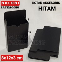 KOTAK AKSESORIS HITAM/TEMPAT SOUVENIR/PILLOW BOX/BUNGKUS KADO/KARDUS