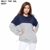 Baju Kaos Salur XXL Jumbo Lengan Panjang Murah Wanita Selly Top - Mocca, L