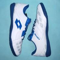 Sepatu Futsal Lotto Squadra IN White Dawn Blue Pasific Blue