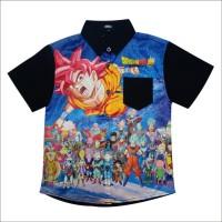 Baju kemeja anak laki-laki, gambar 3D Dragon Ball Super, hitam