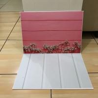Alas foto 3D background foto 3D A1 ( 90x60cm ) motif kayu pink putih