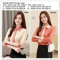 Baju Atasan Kemeja Kerja Wanita Blouse Korea Import AB537015 Orange