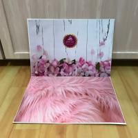Alas Foto 3D Background Foto 3D A2 motif bulu dan pagar bunga pink