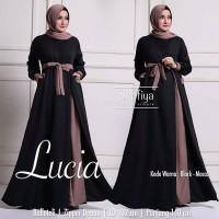Baju Gamis Wanita Muslim Terbaru Lucia Dress Polos Syari Murah