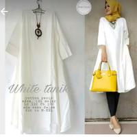 White Tunic - Tunik Putih - Atasan Blouse Wanita Warna Putih