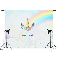 Termurah 5x3ft 7x5ft Rainbow Clouds Sky Unicorn Photography Backdrop