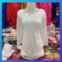 baju atasan kebaya wanita tunik brukat jumbo xxxxl maxi blouse putih