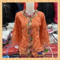 atasan kebaya wanita tunik brukat prada premium maxi blouse orange