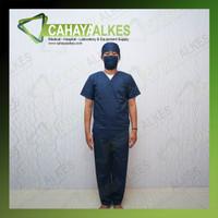 Seragam OKA Lengan Pendek Biru Dongker   Baju Jaga OK Operasi S M L XL