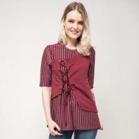 SEYES J9980 Tumblr Blouse Cewe Premium Baju Atasan Wanita Maroon - Merah