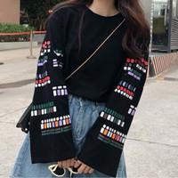 Baju Wanita Atasan Korea Stylish Fashion Boho Longsleeve Blouse