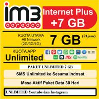 Kartu perdana paket data Indosat IM3 UNLIMITED 7GB free Youtube dan IG