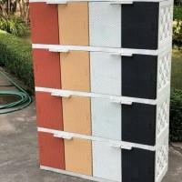 Akako - Lemari Plastik Motif Rotan 4 Susun 16 Pintu Dijual