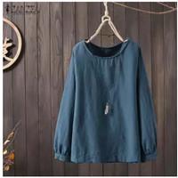 Blus Wanita Kasual T-Shirt Ukuran Besar Wanita Musim Panas Crewneck