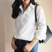 Kemeja Putih Wellmade Shirt/Kemeja Polos Putih Wanita