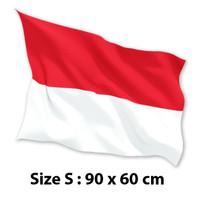 BENDERA INDONESIA MERAH PUTIH 90 cm x 60 cm (S) Satin 100% Premium