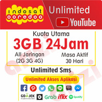 Kartu perdana paket data Indosat IM3 UNLIMITED 3 GB free Youtube
