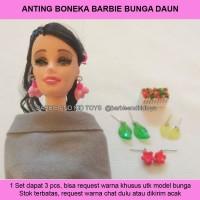 Anting Boneka Barbie 3in1 Bunga Daun Handmade Unik - Mainan Anak Murah