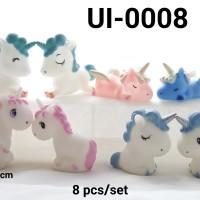 Ui-0008 Mainan figurine figurin cake topper hiasan kue kuda unicorn
