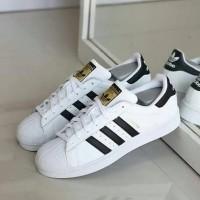 Sepatu Pria Dan Wanita Adidas Superstar Import Putih Garis Hitam Size