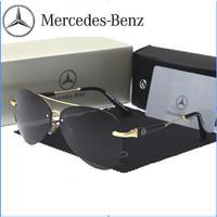 Kacamata Sunglass Mewah Mercedes Benz Aviator Pilot Premium Mirror - Gold