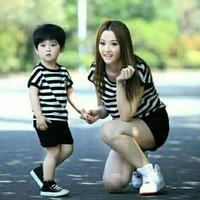 Baju Couple Kaos Belang Mom & Kids Black & White