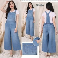 Overall Jeans Kulot Baju Kodok Bahan Jeans Tebal Polos All Size