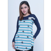 Kaos T-Shirt Lengan Panjang Wanita Seyes 4560- Salur + Rayon Spandex