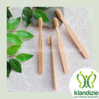 [Beige] Sikat Gigi Bambu Eco-Friendly Bamboo Toothbrush