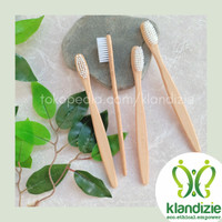 [White] Sikat Gigi Bambu Eco-Friendly Bamboo Toothbrush